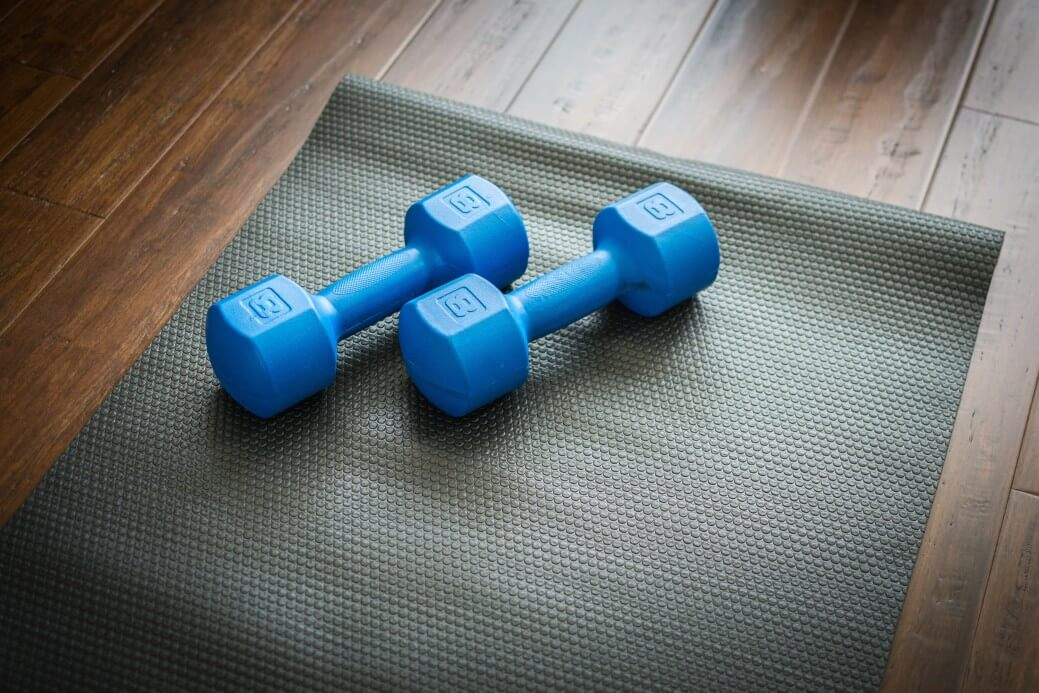 dumbells for exercising. To deal with stress