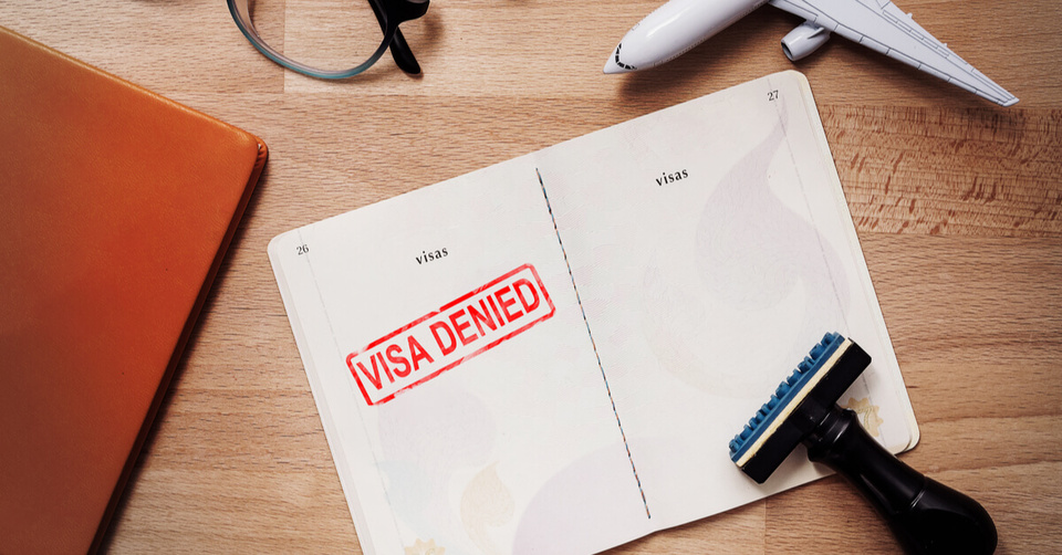 Visa application with rejected stamp