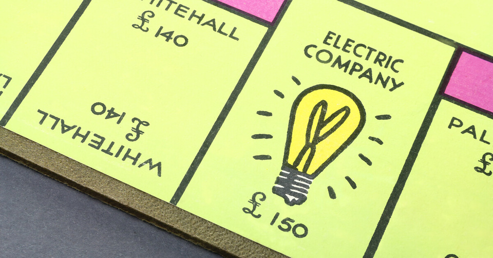 Monopoly board showing electricity company