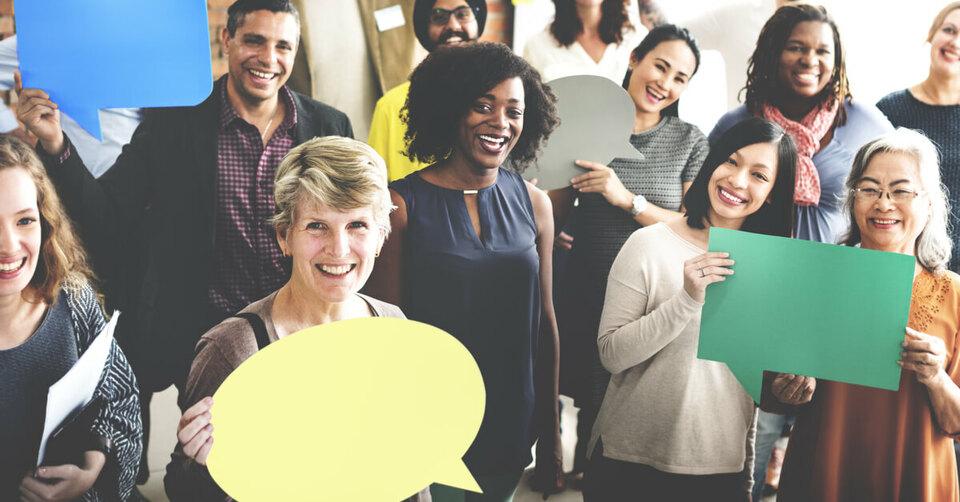 Employees giving feedback