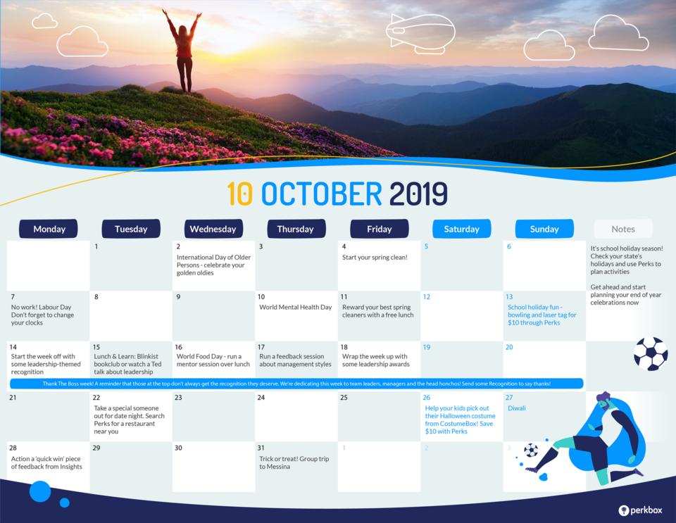 October culture calendar