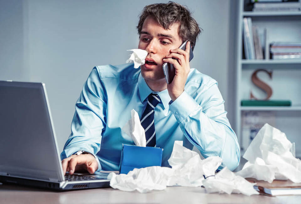 sick employee at work