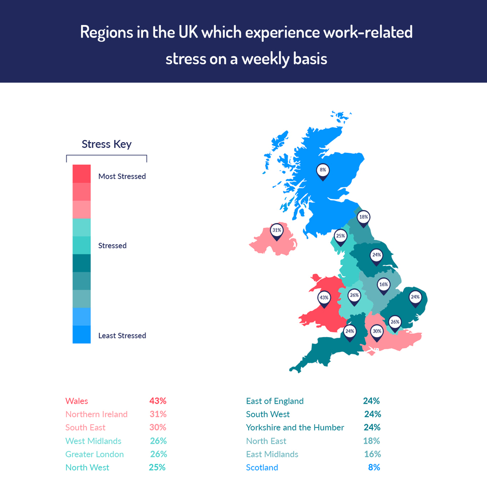 map to show the most stressed regions in the UK